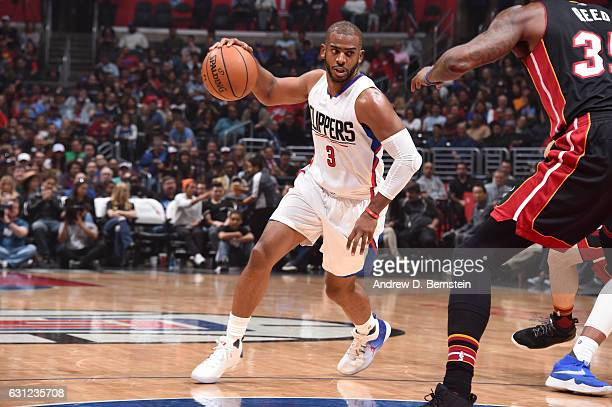 Chris Paul of the LA Clippers drives to the basket against the Miami Heat during the game on January 8 2017 at STAPLES Center in Los Angeles...