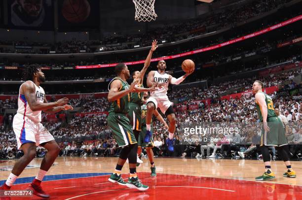 Chris Paul of the LA Clippers goes up for a lay up against the Utah Jazz during Game Seven of the Western Conference Quarterfinals of the 2017 NBA...