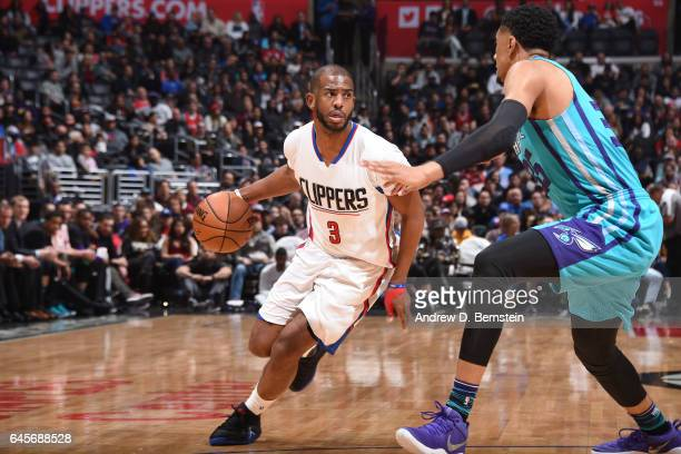 Chris Paul of the LA Clippers handles the ball against the Charlotte Hornets on February 26 2017 at STAPLES Center in Los Angeles California NOTE TO...