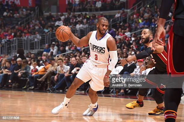 Chris Paul of the LA Clippers handles the ball against the Miami Heat during the game on January 8 2017 at STAPLES Center in Los Angeles California...