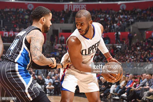 Chris Paul of the LA Clippers handles the ball against the Orlando Magic on January 11 2017 at STAPLES Center in Los Angeles California NOTE TO USER...
