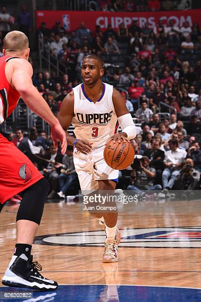 Chris Paul of the LA Clippers handles the ball against the Portland Trail Blazers on November 09 2016 at STAPLES Center in Los Angeles California...