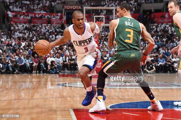 Chris Paul of the LA Clippers handles the ball against the Utah Jazz during Game Seven of the Western Conference Quarterfinals of the 2017 NBA...
