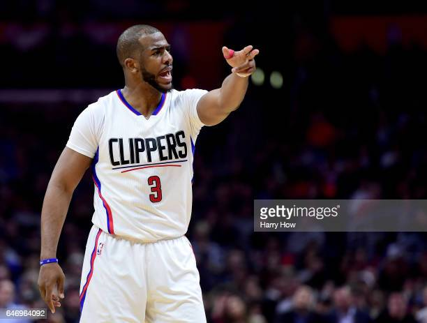 Chris Paul of the LA Clippers reacts to his technical foul during a 122103 Houston Rockets win at Staples Center on March 1 2017 in Los Angeles...