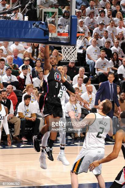 Chris Paul of the LA Clippers shoots a lay up during the game against the Utah Jazz in Game Four during the Western Conference Quarterfinals of the...