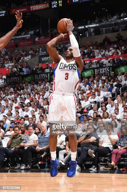 Chris Paul of the LA Clippers shoots the ball against the Utah Jazz during Game Seven of the Western Conference Quarterfinals of the 2017 NBA...