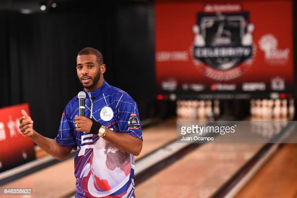 Chris Paul of the LA Clippers talks to the crowd at the State Farm CP3 PBA Celebrity Invitational hosted by Los Angeles Clippers allStar guard Chris...