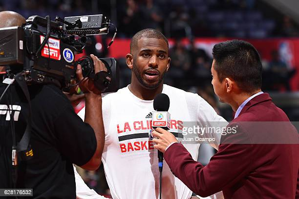 Chris Paul of the LA Clippers talks to the media before the game Detroit Pistons on November 7 2016 at the STAPLES Center in Los Angeles California...