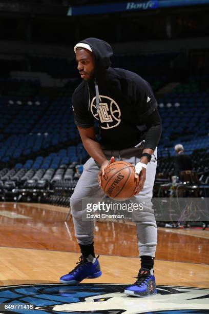 Chris Paul of the LA Clippers warms up before the game against the Minnesota Timberwolves on March 8 2017 at Target Center in Minneapolis Minnesota...