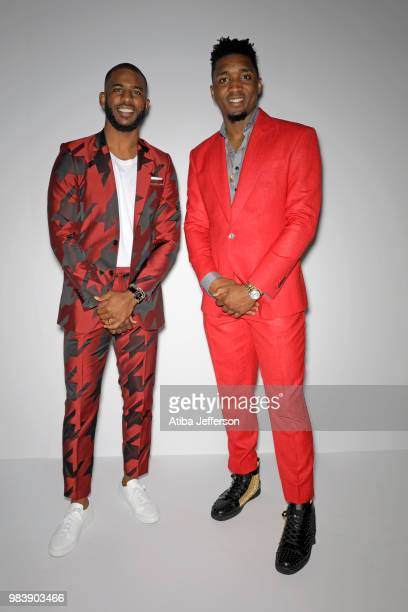 Chris Paul of the Houston Rockets and Donovan Mitchell of the Utah Jazz pose for a portrait during the NBA Awards Show on June 25 2018 at the Barker...