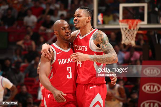 Chris Paul of the Houston Rockets and Gerald Green of the Houston Rockets react to a play during the game against the Miami Heat on February 7 2018...