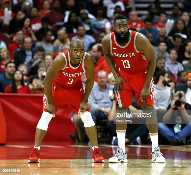 Chris Paul of the Houston Rockets and James Harden against the Golden State Warriors at Toyota Center on January 20 2018 in Houston Texas NOTE TO...
