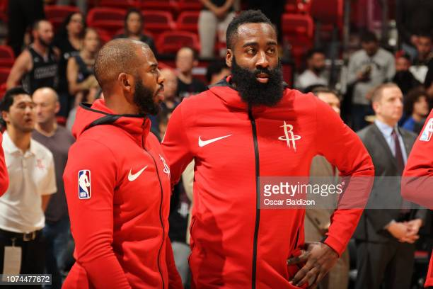 Chris Paul of the Houston Rockets and James Harden of the Houston Rockets talk before the game against the Miami Heat on December 20 2018 at American...