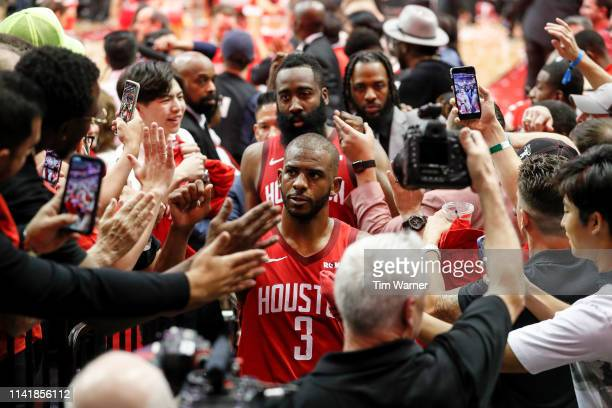 Chris Paul of the Houston Rockets and James Harden walk to the locker room after Game Four of the Second Round of the 2019 NBA Western Conference...