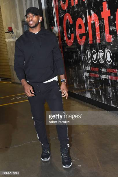 Chris Paul of the Houston Rockets arrives at the arena before the game against the Los Angeles Lakers on December 3 2017 at STAPLES Center in Los...