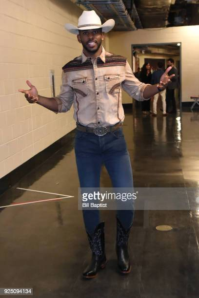 Chris Paul of the Houston Rockets arrives at the arena before the game against the Minnesota Timberwolves on February 23 2018 at the Toyota Center in...