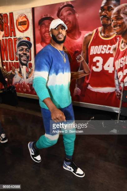 Chris Paul of the Houston Rockets arrives before Game One of the Western Conference Finals against the Golden State Warriors during the 2018 NBA...