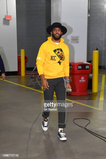 Chris Paul of the Houston Rockets arrives before the game against the Oklahoma City Thunder on February 9 2019 at the Toyota Center in Houston Texas...