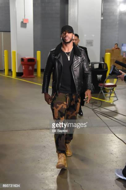 Chris Paul of the Houston Rockets arrives before the game against the San Antonio Spurs on December 15 2017 at the Toyota Center in Houston Texas...