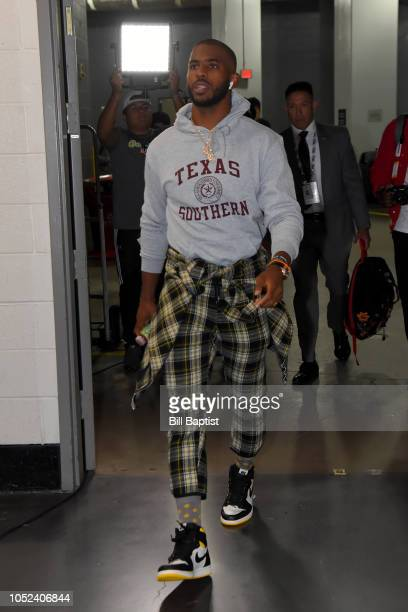 Chris Paul of the Houston Rockets arrives prior to a game against the New Orleans Pelicans on October 17 2018 at Toyota Center in Houston Texas NOTE...