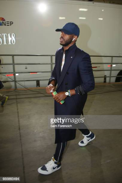 Chris Paul of the Houston Rockets arrives to the arena prior to the game against the Portland Trail Blazers on March 20 2018 at the Moda Center in...