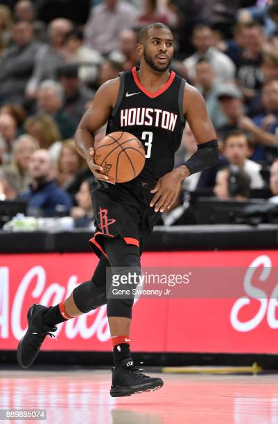 Chris Paul of the Houston Rockets brings the ball up court against the Utah Jazz during their game at Vivint Smart Home Arena on December 7 2017 in...