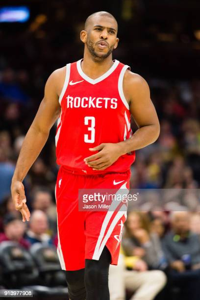 Chris Paul of the Houston Rockets celebrates after scoring during the second half against the Cleveland Cavaliers at Quicken Loans Arena on February...