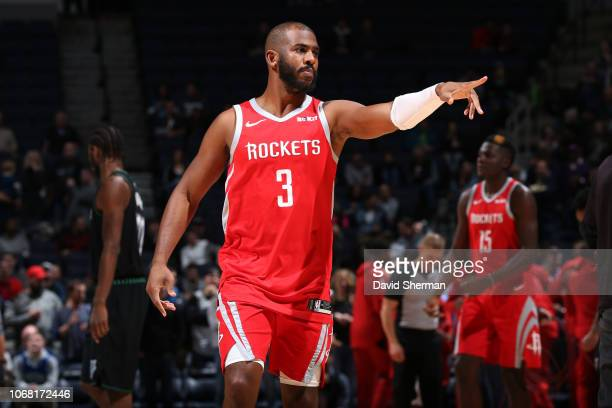 Chris Paul of the Houston Rockets celebrates during the game against the Minnesota Timberwolves on December 3 2018 at Target Center in Minneapolis...