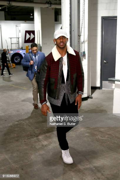 Chris Paul of the Houston Rockets enters the arena before the game against the Brooklyn Nets on February 6 2018 at Barclays Center in Brooklyn New...