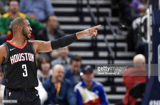 Chris Paul of the Houston Rockets gestures on court against the Utah Jazz during their game at Vivint Smart Home Arena on December 7 2017 in Salt...