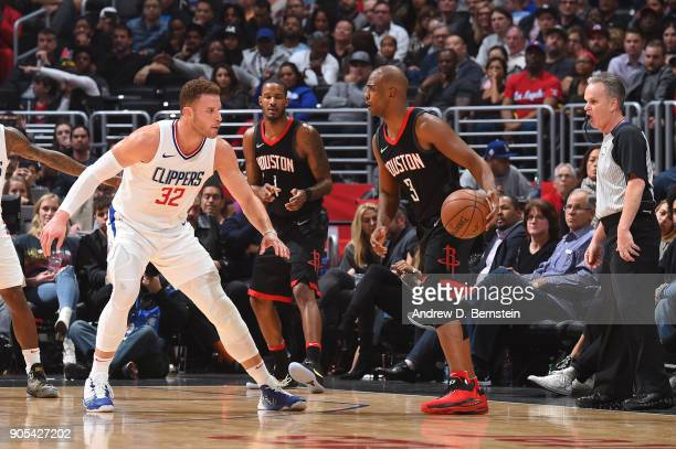 Chris Paul of the Houston Rockets handles the ball against Blake Griffin of the LA Clippers on January 15 2018 at STAPLES Center in Los Angeles...