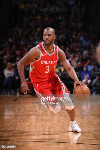 Chris Paul of the Houston Rockets handles the ball against the Denver Nuggets on February 25 2018 at the Pepsi Center in Denver Colorado NOTE TO USER...