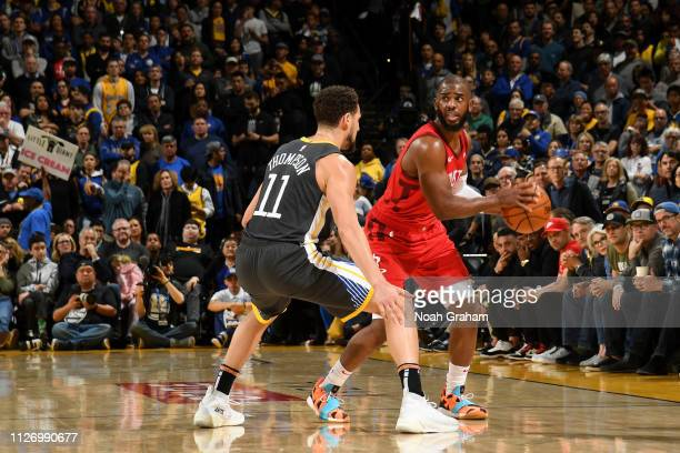 Chris Paul of the Houston Rockets handles the ball against the Golden State Warriors on February 23 2019 at ORACLE Arena in Oakland California NOTE...