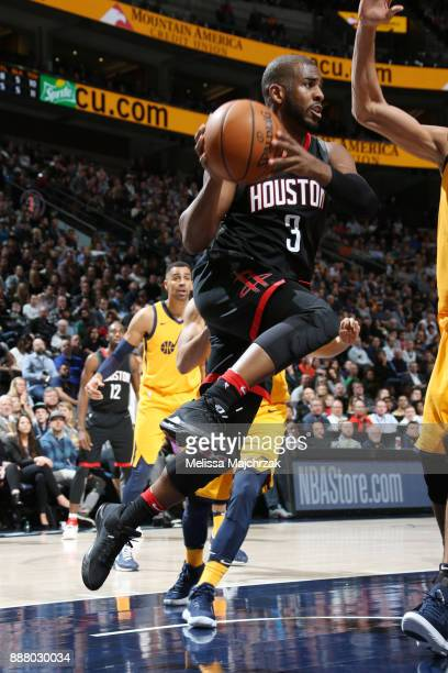 Chris Paul of the Houston Rockets handles the ball during the game against the Utah Jazz on December 7 2017 at VivintSmartHome Arena in Salt Lake...
