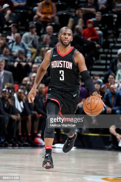 Chris Paul of the Houston Rockets handles the ball during the game Utah Jazz on December 7 2017 at VivintSmartHome Arena in Salt Lake City Utah NOTE...