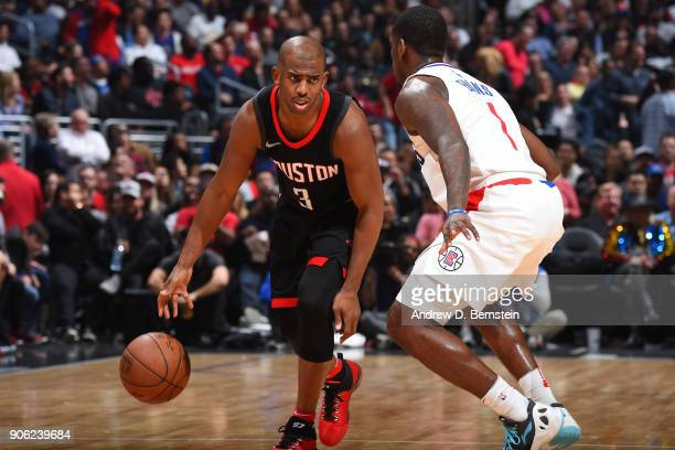 Chris Paul of the Houston Rockets handles the ball during the game against the LA Clippers on January 15 2018 at STAPLES Center in Los Angeles...