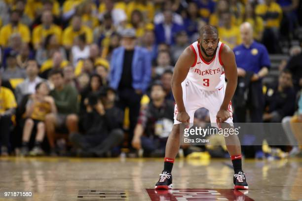 Chris Paul of the Houston Rockets in action against the Golden State Warriors during Game 4 of the Western Conference Finals at ORACLE Arena on May...