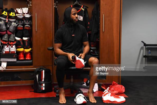 Chris Paul of the Houston Rockets is photographed in the locker room before the game against the Golden State Warriors in Game Seven of the Western...