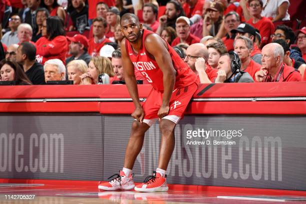 Chris Paul of the Houston Rockets looks on against the Golden State Warriors during Game Six of the Western Conference Semifinals of the 2019 NBA...