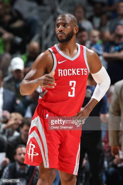Chris Paul of the Houston Rockets looks on during the game against the Minnesota Timberwolves in Game Four of Round One of the 2018 NBA Playoffs on...