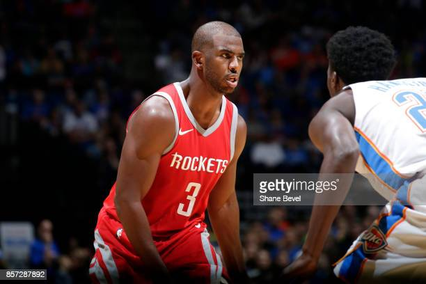 Chris Paul of the Houston Rockets looks on during the preseason game against the Oklahoma City Thunder on October 3 2017 at the BOK Center in Tulsa...