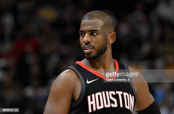 Chris Paul of the Houston Rockets looks on during their game against the Utah Jazz at Vivint Smart Home Arena on December 7 2017 in Salt Lake City...