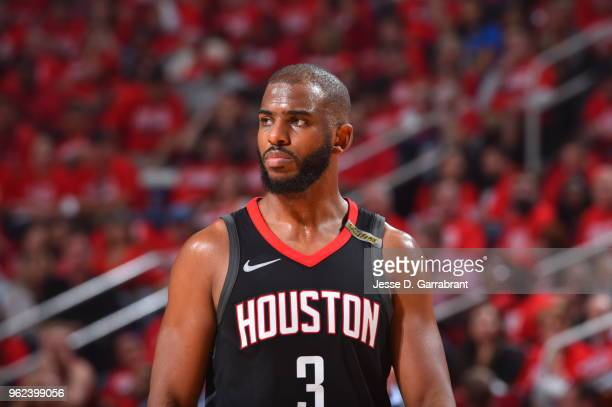 Chris Paul of the Houston Rockets looks on in Game Five of the Western Conference Finals against the Golden State Warriors during the 2018 NBA...