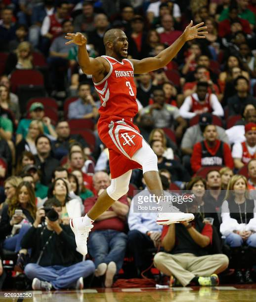 Chris Paul of the Houston Rockets loses control of the ball against the Boston Celtics at Toyota Center on March 3 2018 in Houston Texas NOTE TO USER...