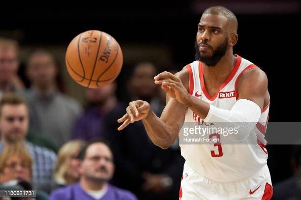 Chris Paul of the Houston Rockets passes the ball against the Minnesota Timberwolves during the game on February 13 2019 at the Target Center in...