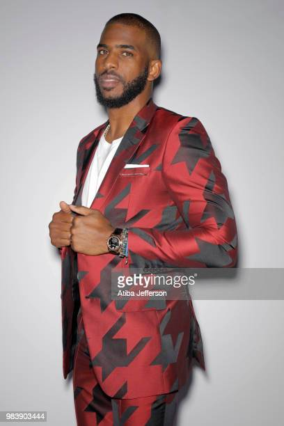 Chris Paul of the Houston Rockets poses for a portrait during the NBA Awards Show on June 25 2018 at the Barker Hangar in Santa Monica California...