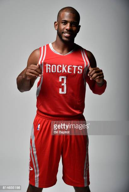 Chris Paul of the Houston Rockets poses for portraits on his introductory press conference on July 14 2017 at the Toyota Center in Houston Texas NOTE...