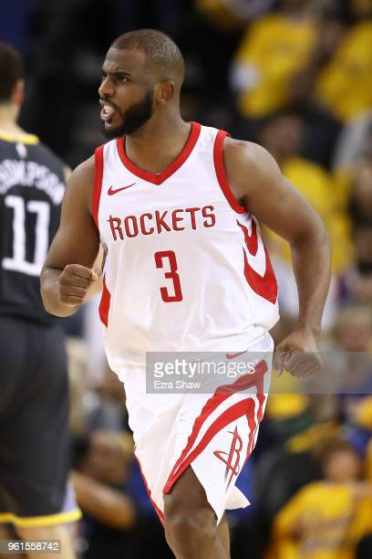 Chris Paul of the Houston Rockets reacts after a basket against the Golden State Warriors during Game Four of the Western Conference Finals of the...