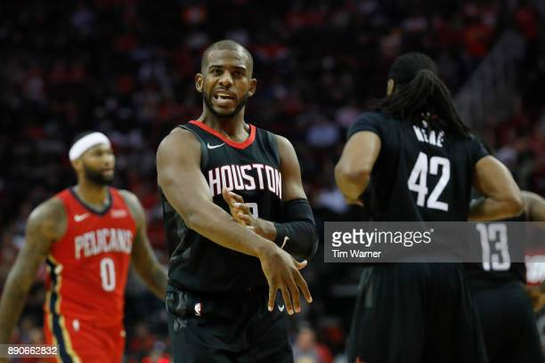 Chris Paul of the Houston Rockets reacts after a foul in the second half against the New Orleans Pelicans at Toyota Center on December 11 2017 in...