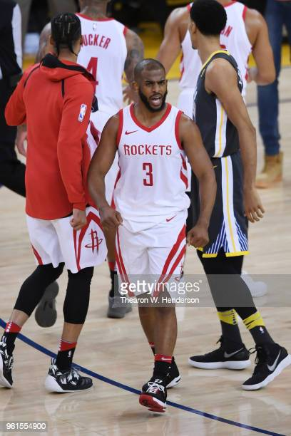 Chris Paul of the Houston Rockets reacts after their 9592 win over the Golden State Warriors in Game Four of the Western Conference Finals of the...